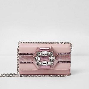 Girls pink glitter brooch embellished purse