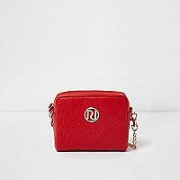 Girls red RI embossed mini crossbody bag
