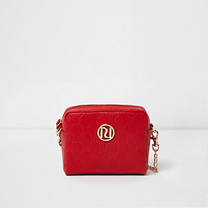 Girls red RI embossed mini crossbody bag