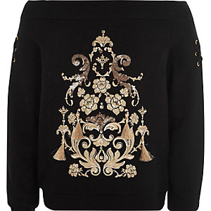 Girls black bardot gold tassel sweatshirt