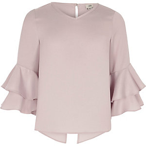 Girls lilac frill bell sleeve top