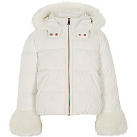 Girls white faux fur trim puffer jacket