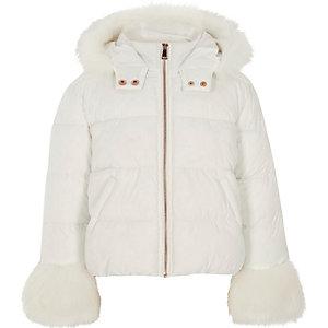 Girls white faux fur trim puffer jacket