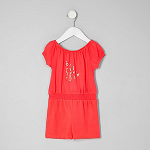 Combi-short Bardot corail mini fille
