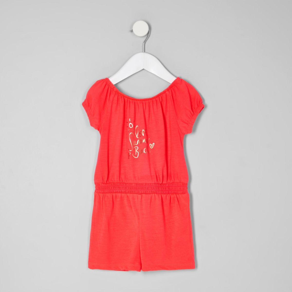Mini - Koraalrode bardotplaysuit voor meisjes