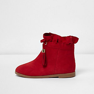 Mini girls red ruffle top tassel boots