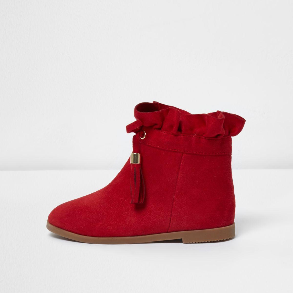 Mini girls red ruffle top tassel boots