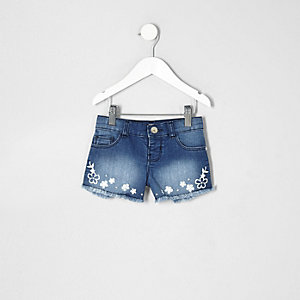 Short en jean bleu brodé mini fille