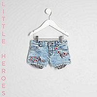 Mini girls blue floral denim shorts