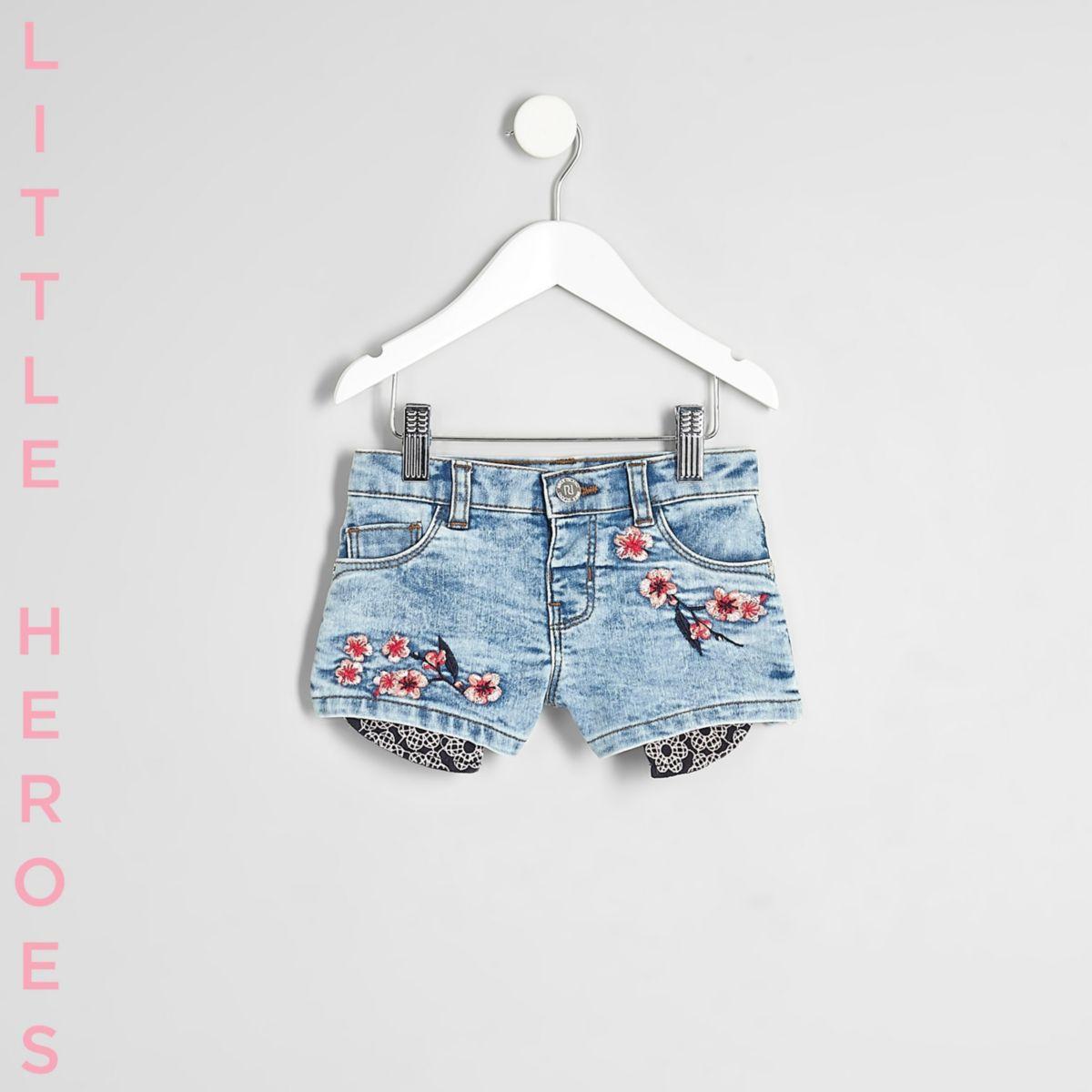Mini - Blauwe gebloemde denim short voor meisjes