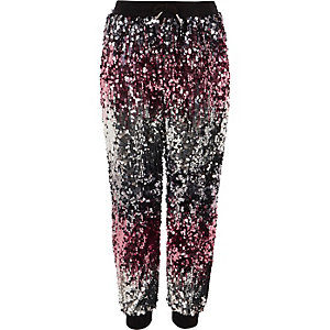 Girls pink and silver ombre sequin joggers
