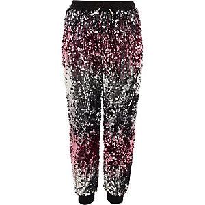 Pantalon de jogging à sequins en dégradé argenté et rose pour fille