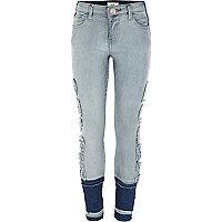 Girls blue 'selfie queen' Amelie skinny jeans