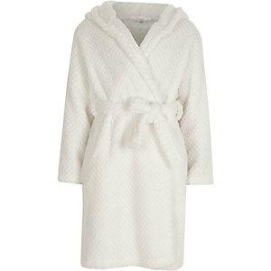 Crème pluizige doorgestikte ochtendjas voor meisjes