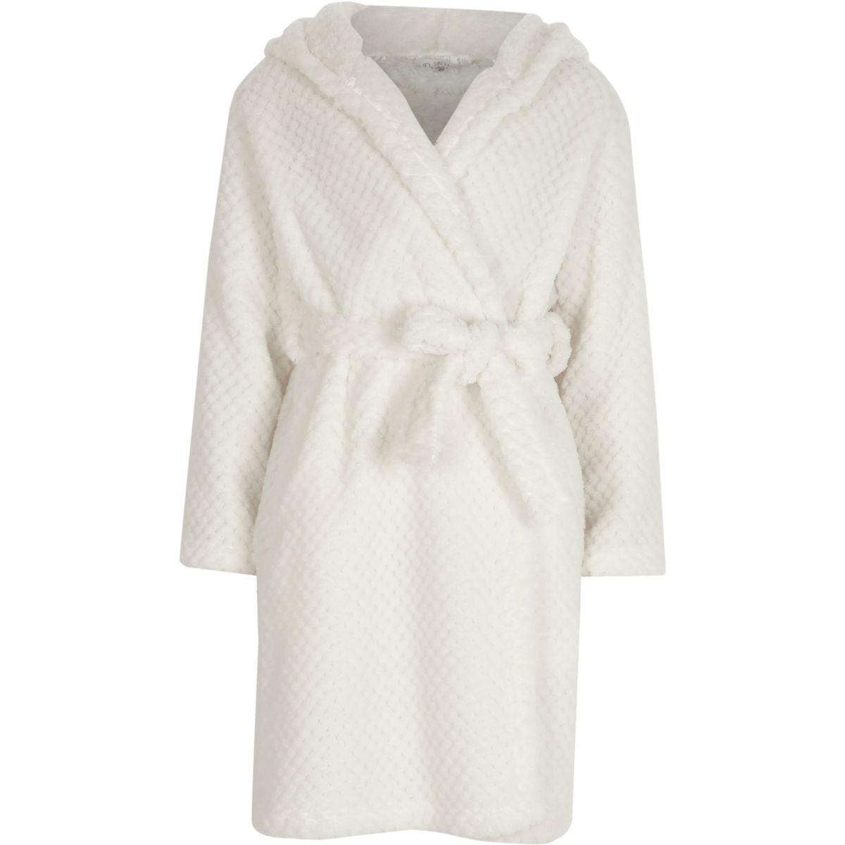Robe de chambre crème duveteuse matelassée pour fille