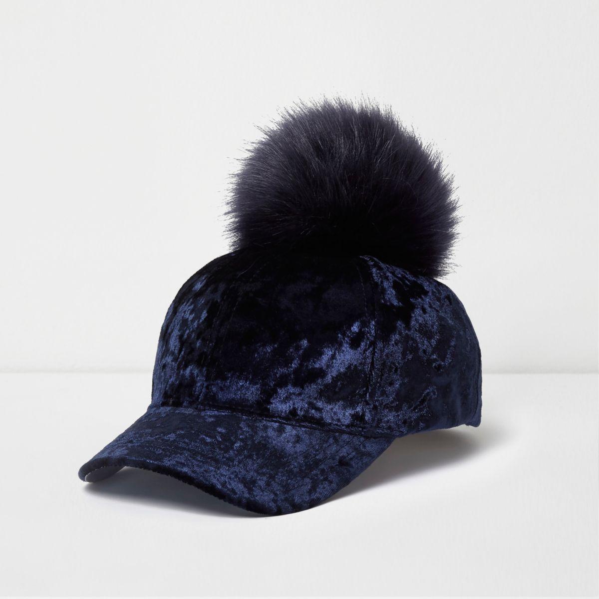 Girls navy velvet pom pom baseball cap