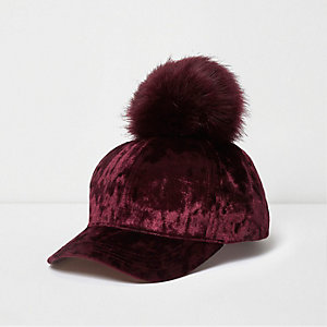 Girls red velvet pom pom baseball cap