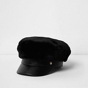 Girls black faux fur baker boy hat