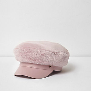 Girls pink faux fur baker boy hat
