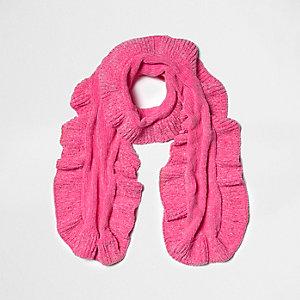 Roze chenille gebreide sjaal met ruches voor meisjes
