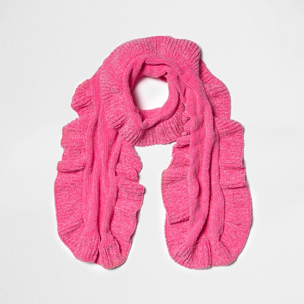 Écharpe en maille chenille rose à volant pour fille