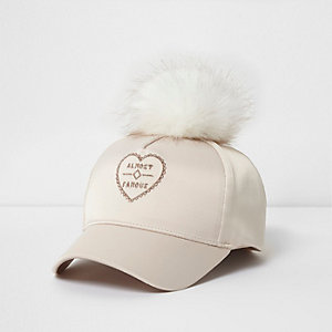 Mini girls cream pom pom baseball cap