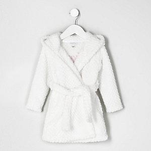 Mini - Crème pluizige doorgetikte ochtendjas voor meisjes