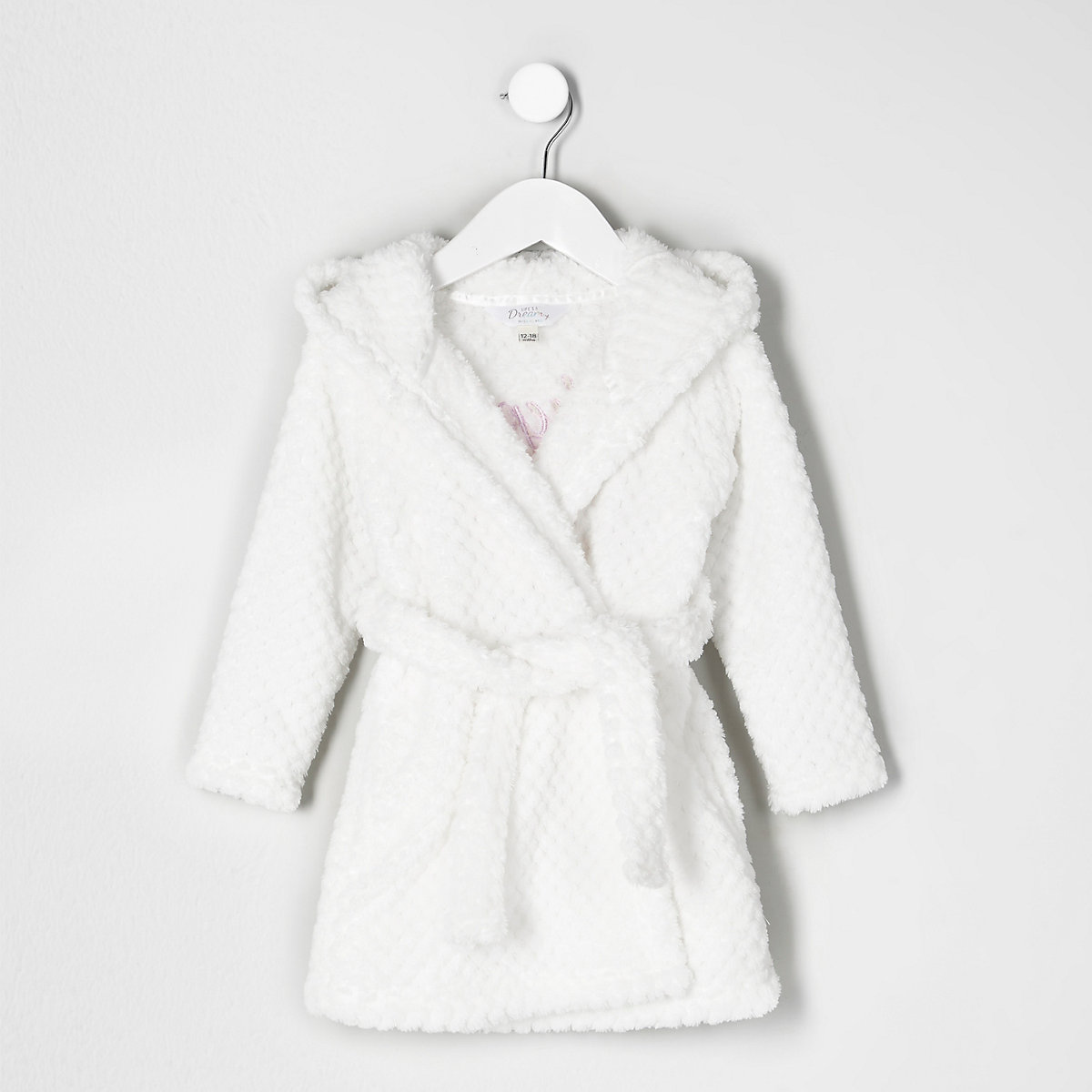 Mini Girls Cream Quilted Fluffy Dressing Gown Baby Girls Pyjamas