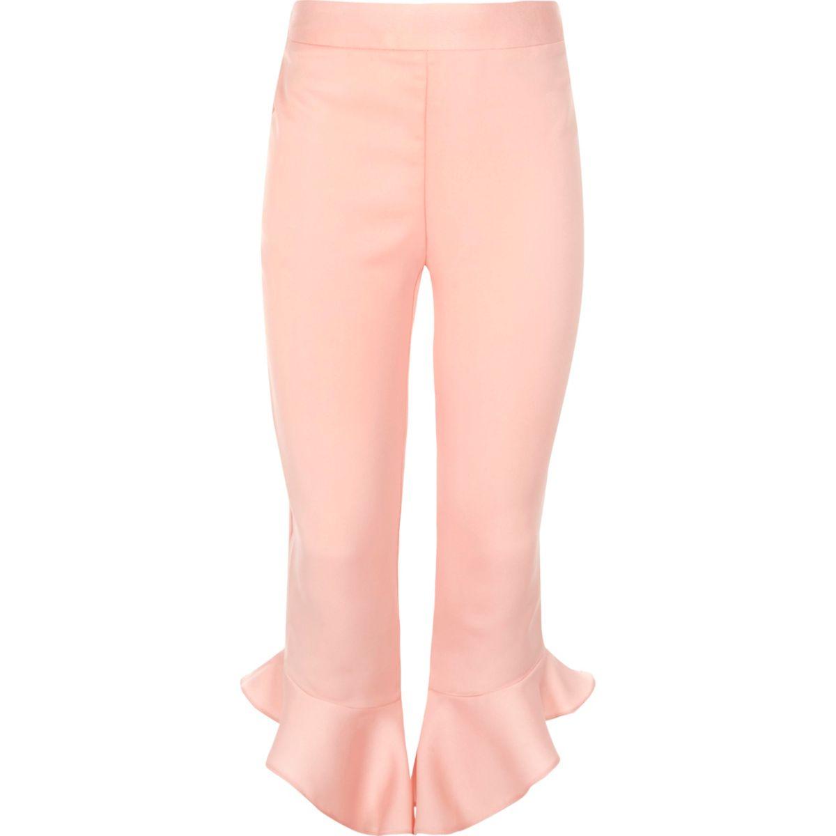 Girls black asymmetric frill hem pants