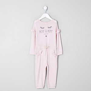 Mini girls pink 'petite' frill knit jumpsuit
