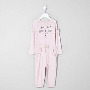 Mini - Roze gebreide jumpsuit met 'petite'-print en ruches voor meisjes