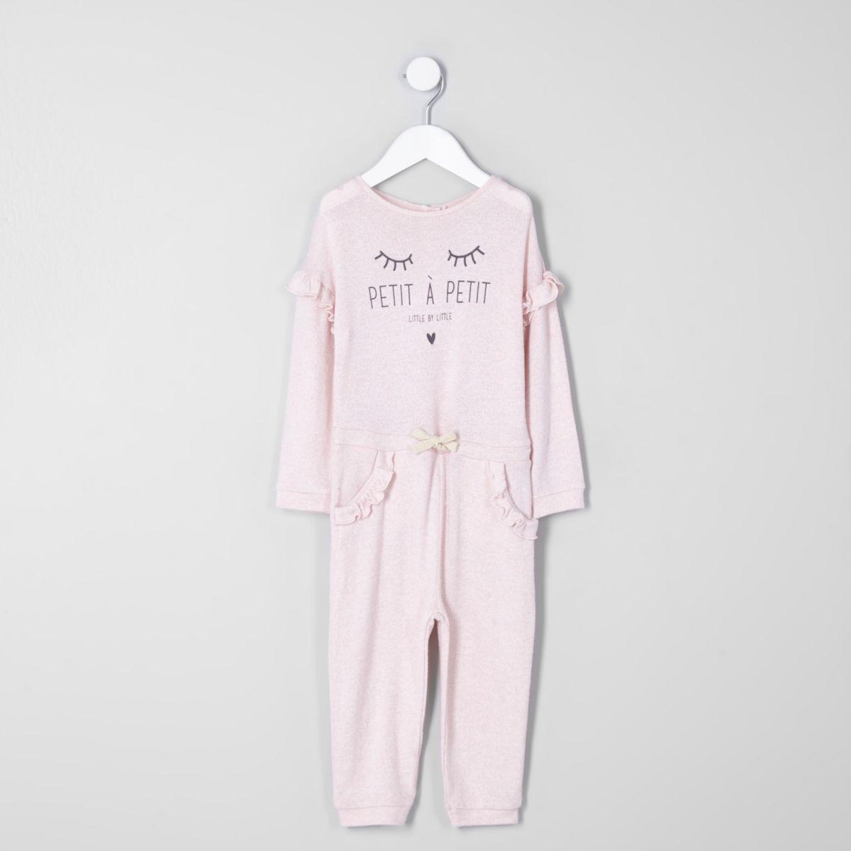 Mini girls pink 'petite' frill knit jumpsuit