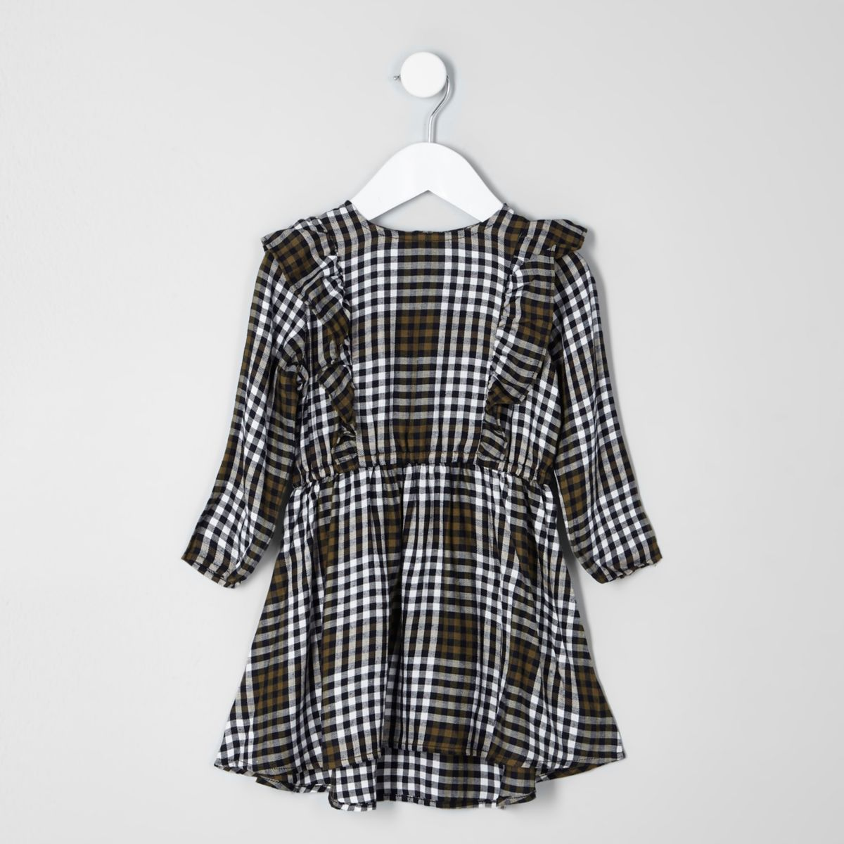 Mini girls khaki check frill front dress