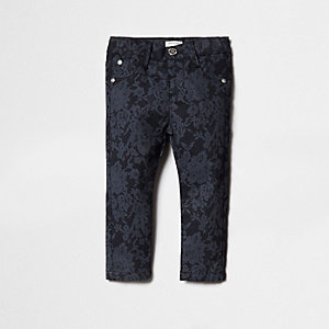 Mini girls navy Molly lace print jeggings