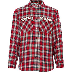 Girls red check faux pearl pocket shirt
