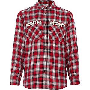 Rood geruit overhemd met imitatiepareltjes en zak voor meisjes