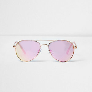 Girls pink lens aviator sunglasses
