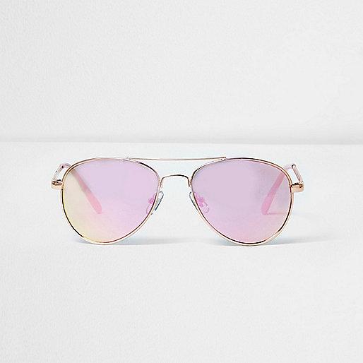 Girls pink lens aviator sunglasses