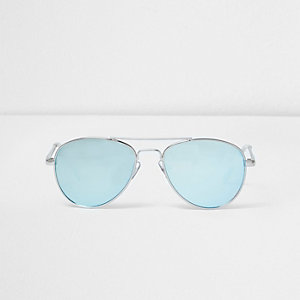 Girls blue lens aviator sunglasses