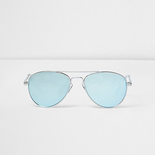 Girls blue lens aviator sunglasses