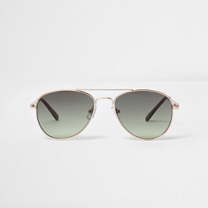 Girls khaki smoke lens aviator sunglasses
