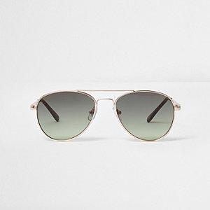 Kaki pilotenzonnebril met grijze glazen voor meisjes