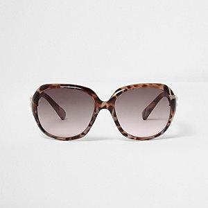 Oversized zonnebril met schildpadmotief voor meisjes