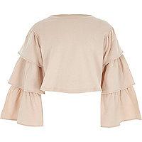 Roze cropped sweatshirt met gelaagde mouwen voor meisjes