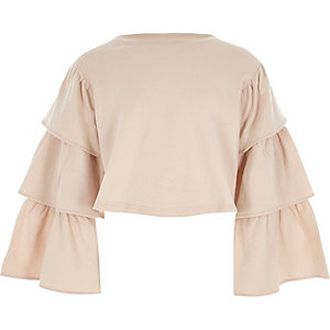 Girls pink tiered sleeve cropped sweatshirt
