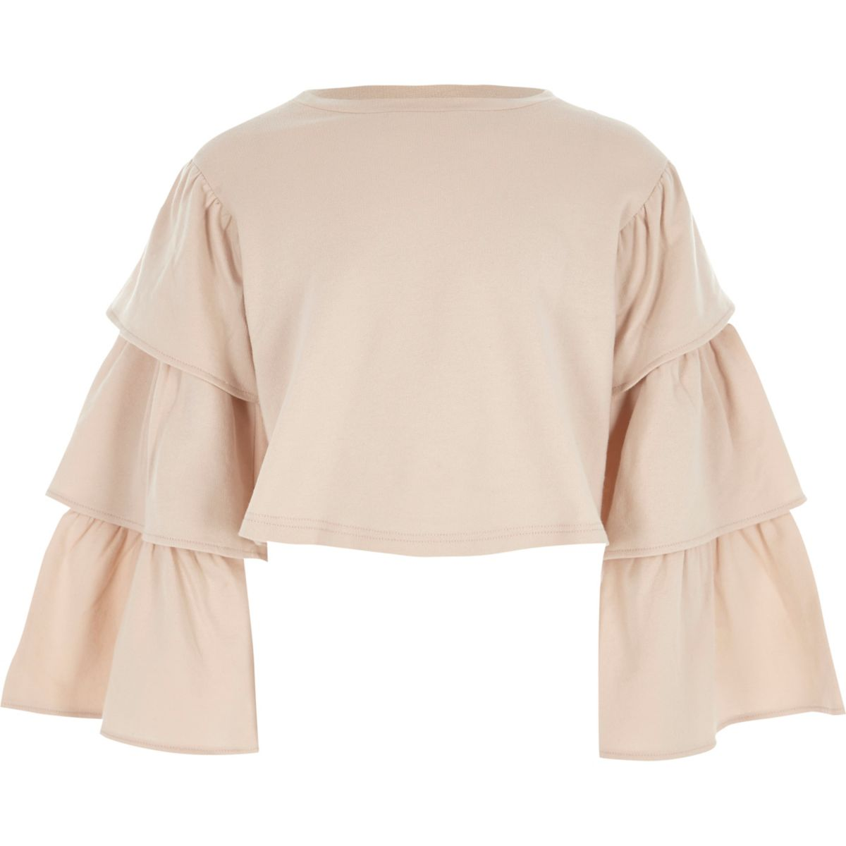 Girls pink tiered sleeve cropped sweatshirt