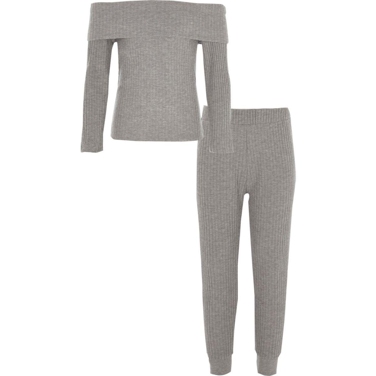 Girls grey ribbed bardot top outfit