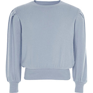 Girls light blue puff long sleeve sweater