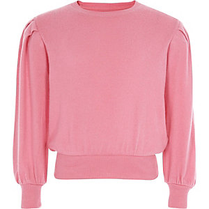 Girls pink puff long sleeve sweater