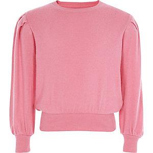 Roze gewatteerde pullover met lange mouwen voor meisjes